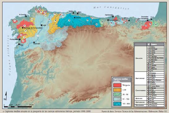 Fuente: Atlas de los ríos salmoneros de la Península Ibérica