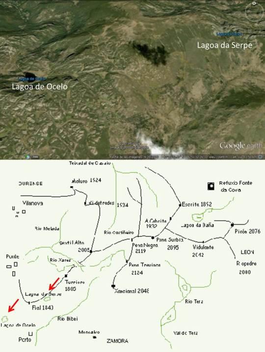 Complejo de lagunas glaciares en el macizo de Peña Trevinca. Fuente: Google Earth y http://www.trevinca.es/